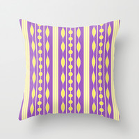Artistic yellow purple stripes pattern Throw Pillow by cycreation