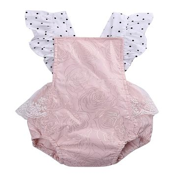 Newborn Infant Baby Girls Sleeveless Pink Lace Romper backless Jumpsuit Clothes