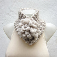 Removeable Brooch Pin -Cowl- Hand Knitted Neck Warmer  - Women  Winter  Accessories Cream