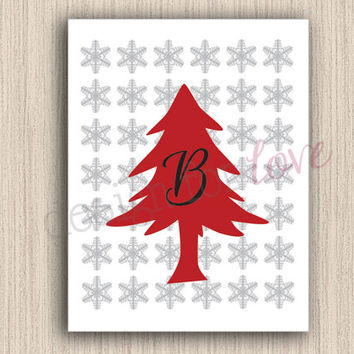 Winter Monogram - Printable File - Winter Decor - Christmas Decor