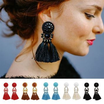 Women Fashion Ethnic Tassel Earring Charms Long Earring Bohemia Style Drop Earrrings Statement Jewelry Handmade Gifts