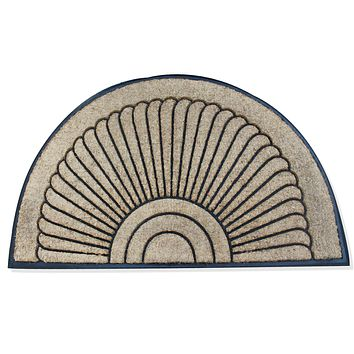"""A1HC -First Impression Unique Sunburst Tapered Edge Black/ Brown Rubber and Coir Half-moon Large Double Doormat (36"""" X 72"""")"""