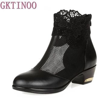 Thick Mid Heel Genuine Leather Boots Lace Gauze Floral Women Summer Shoes Sandals Lady Cut Out Ankle Boots