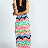 Tara Multi Zig Zag Contast Bandeau Maxi Dress