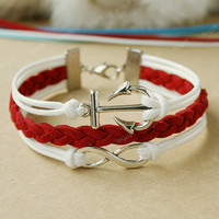 Anchor bracelet-Infinity white bracelet - double white and red mixed colors combination bracelet gift for girlfriend