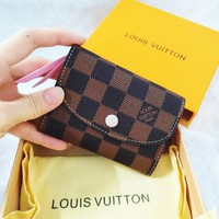LV Louis Vuitton New Fashion Tartan Leather Buckle Pink Wallet Purse Women