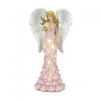 Solar Powered Pink Rose Angel Statue