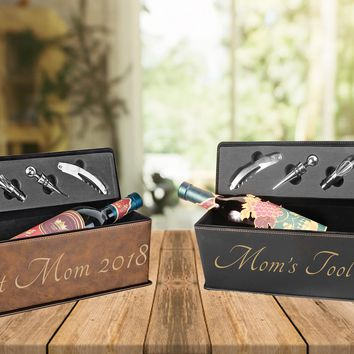 Personalized Leatherette Single Wine Box with Tools