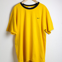 NIKE RINGER TEE / nike tshirt / yellow shirt / black and yellow / minimal / embroidered / vintage / mens / xl