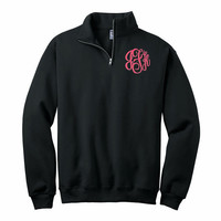 Monogrammed 1/4 zip Sweatshirt - BLACK with any thread color