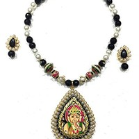 Womens Statement Necklace Earrings Set Ganesha Pendant Pearl Jewelry, Gift for Mom