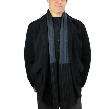 Men's 100% Cashwool Pinstriped Scarf | Color-Block Reversible Fine Double Knit Scarf