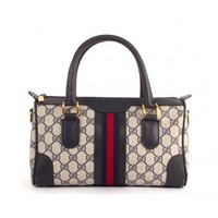 GUCCI Navy GG Boston Doctor Bag w Stripe Web - Gucci - Brands | Portero Luxury