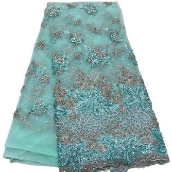 5 yards/lot Beautiful Lace Fabric Green French African Lace High Quality Embroidered Fabric
