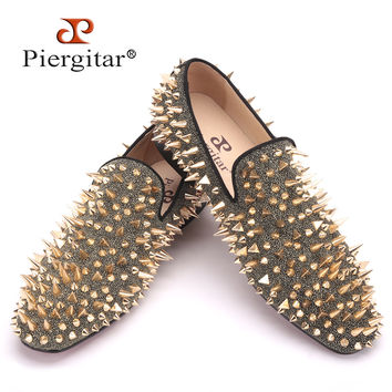 new Two color Handmade men party and prom shoes Fashion Rivet shoes  smoking slippers men flats