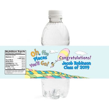 Oh The Places You'll Go Graduation Water Bottle Labels