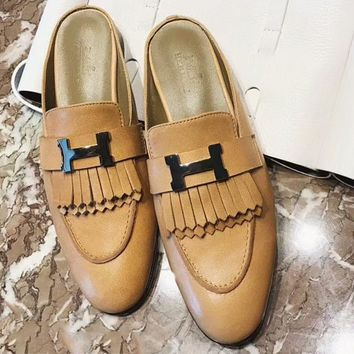 Hermes 2018 new semi-draft head flat flat with Muller slippers F-RCSTXC