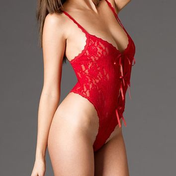 Lace Open Gusset Crotchless Teddy by Hanky Panky