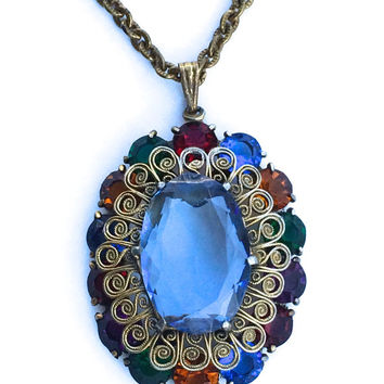 Spectacular Czech filigree and glass stone pendant necklace