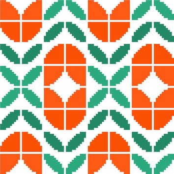Retro tulips cross stitch pattern. Modern cross stitch design. Mid Century modern tile pattern.