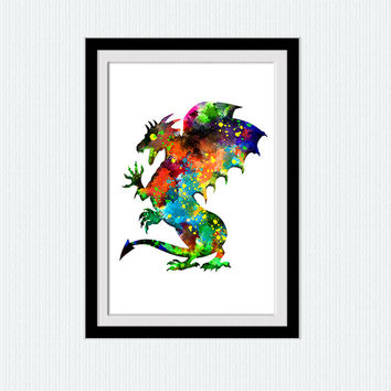 Watercolor print, watercolor poster, dragon colorful illustration, vivid home decor gift, home decoration, wall hanging art, kids room, W147
