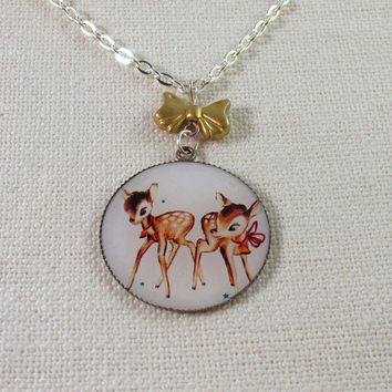 Deer Necklace, Kitsch Vintage Look Cameo Bambi