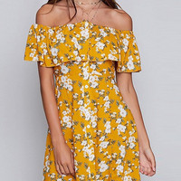 Yellow Off Shoulder Floral Print Ruffle Front Button A-Line Dress