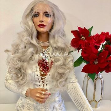 """Silver Gray FRENCH Lace Front Wig 
