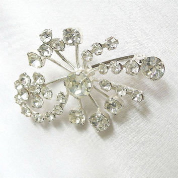 Vintage Clear Ice Crystal Rhinestones Flower Spray Brooch signed Made in AUSTRIA