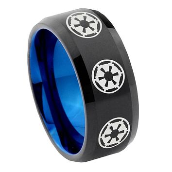 8mm Multi Star Wars Empire Bevel Tungsten Carbide Blue Mens Promise Ring