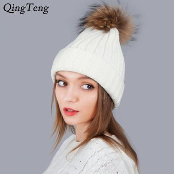 Autumn Winter Hat For Women Girl 'S Hats Fox Fur Ball Cap Pom Poms Knitted Beanies Cap Brand New Thick Female Gorras Gifts