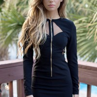 Ultimate Crush Black Front Zipper Bodycon Dress