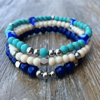 Stacking Bracelets Beaded Bracelets Stretch Bracelets Turquoise Navy Blue Cream Evil Eye's Gold Silver Beads Cute Small Gift Ready To Ship