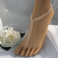 Crystal Weave Style Barefoot Sandal - Wedding - Bridal Foot Jewelry