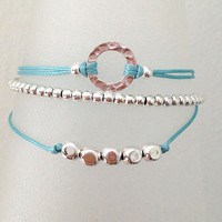 Triple Silver Friendship Bracelet with Adjustable Cord in Light Blue