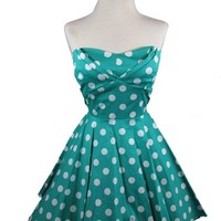 Ixia Polka Dot A-line 50s Pinup Dress-Jade-Large