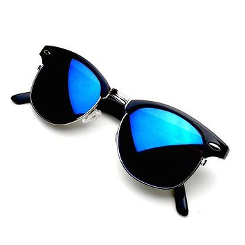 Summer Popular Men Women Retro Half Frame Flash Mirror Semi Rimless Horned Rim Sun Shades Eyeglasses Glasses Sunglasses I
