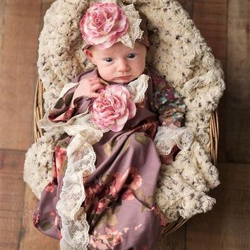 2018 Fall Haute Baby Sugar Plum Infant Take Me Home Gown Pre-Order