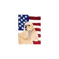 Caroline's Treasures USA American Flag with Cocker Spaniel House Flag