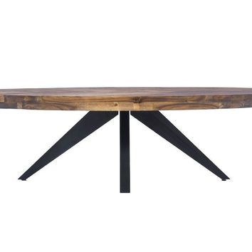 Parq Parquet Patterned Wood Oval Coffee Table