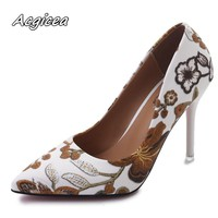 Woman Shoes Fashion Leaves Printing Ladies Sexy Stiletto Female Floral Thin Women High Heels Party Dress Pumps f126