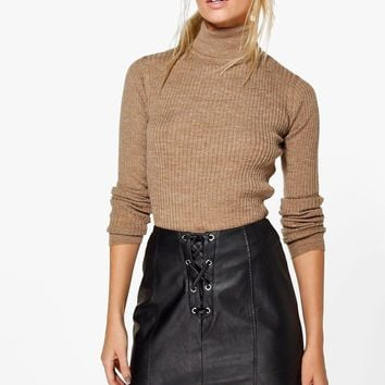 Erin Rib Knit Turtleneck Jumper | Boohoo