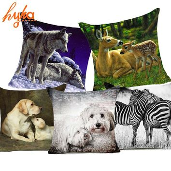 Hyha Affection Polyester Cushion Cover Schnauzer Family Affection Labrador Wolf Home Decorative Pillows Cover for Sofa Cojines