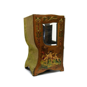 Antique French  Jewelry Casket. French Miniature Etagere.  Jewelry Armoire. Chromolithograph Box. Victorian Jewelry Box.