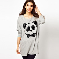 Gray Panda Head Print Long Sleeve Loose Top