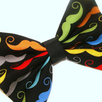Mustache Hair Bow Vintage Inspired Hair Clip Rockabilly Pin up Teen Woman