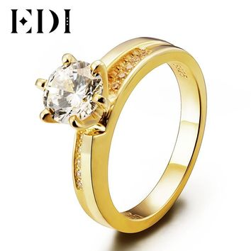 EDI Classic Unique 1ct Round Cut Moissanite Diamond 14K 585 Yellow Gold Wedding Ring For Women Engagement Bands Fine Jewelry