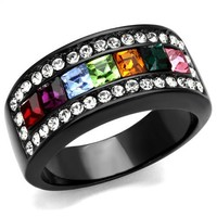 Strip of Colors Black Band Ring