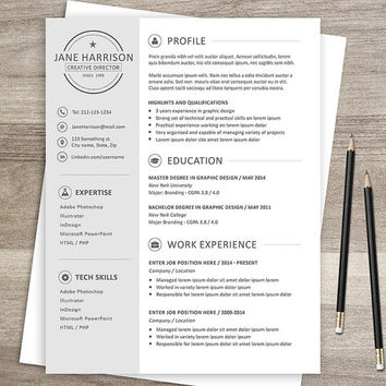 Resume template - CV template + cover letter - 2 page resume - Resume Template for Word  - Resume Template for Photoshop