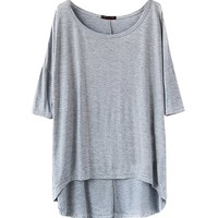 Shawhuaa Womens Loose Short Sleeve High-Low Hem T-shirt Tee, Grey, One Size